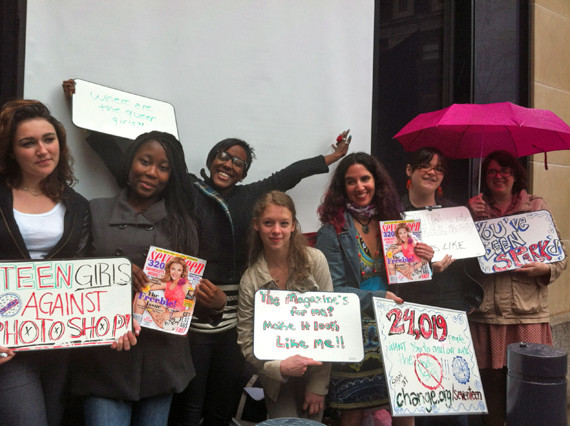 The SPARK team outside of Seventeen's HQ, calling for a wider representation of girlhood. (Photo source: courtesy of the Huffington Post)